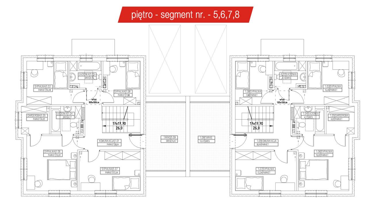 Rzut piętra segmenty Grójec - 5,6,7,8